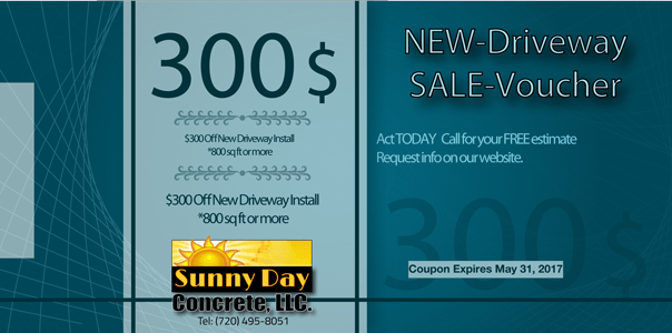 Concrete Driveway Coupon: $300 OFF NEW Driveway Install 800sq ft or more.