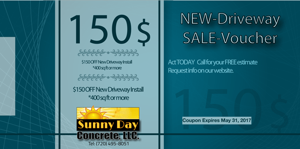 Concrete Driveway Coupon: $150 OFF NEW Driveway Install 400sq ft or more.